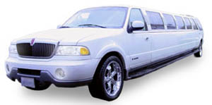 Chauffeur stretched white Jeep Expedition limousine hire in UK