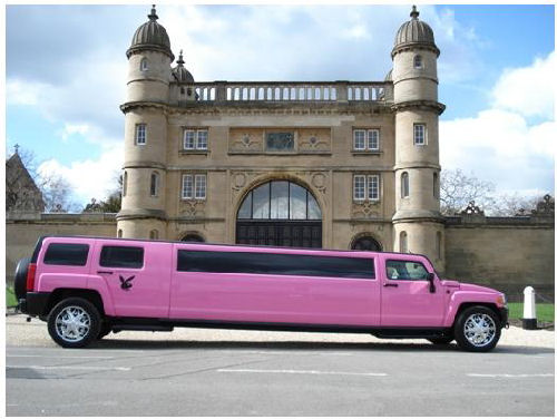 Chauffeur stretch pink Hummer limousine hire in Nottingham, Derby, Nottinghamshire, Derbyshire, Midlands.