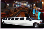 Chauffeur stretch white Ford Excursion 4x4 limousine hire in UK