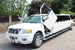 Chauffeur stretched white Ford Excursion 4x4 limo hire with Lamborghini doors in Sheffield, Rotherham, Barnsley, Doncaster, Huddersfield, South Yorkshire