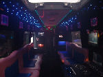 Chauffeur driven Pink Panther Party Bus limousine hire interior in Birmingham, Coventry, Dudley, Wolverhampton, Telford, Worcester, Walsall, Stafford, Midlands