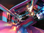Chauffeur stretched pink Lincoln limousine hire interior in Bristol, Gloucester, Cheltenham, Cardiff, Wales, Weston Super Mare, and Bath.